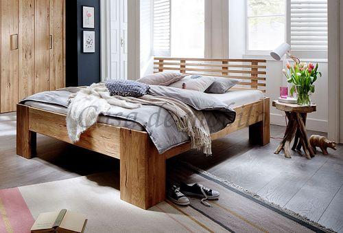 Bett 160x200 rustikale Wildeiche geölt Doppelbett Vollholz – Bild 1