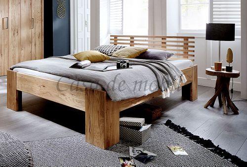Bett 200x200 rustikale Wildeiche geölt Doppelbett Vollholz – Bild 1