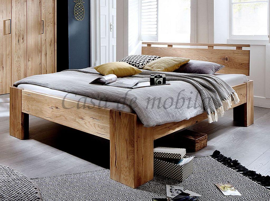 Bett 180x200 Kopfteil Mit Zierleiste Rustikale Wildeiche Geolt