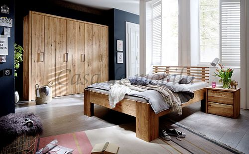 Schlafzimmer 3teilig Falttürenschrank Bett 140x200 Asteiche geölt – Bild 1