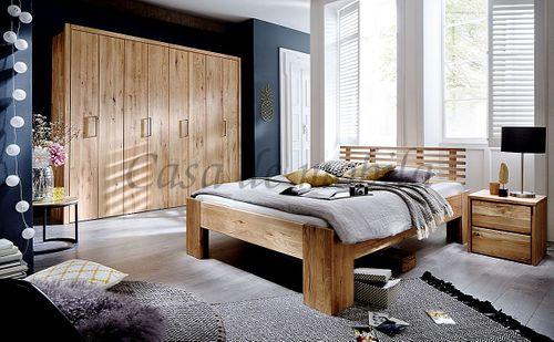 Bett 200x220 Überlänge rustikale Wildeiche geölt Doppelbett Vollholz – Bild 3