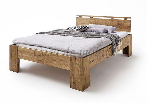 Doppelbett 140x220 Überlänge rustikale Wildeiche geölt Bettgestell Vollholz – Bild 1