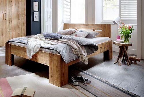 Holzbett 160x220 Überlänge rustikale Wildeiche geölt Doppelbett Vollholz – Bild 1