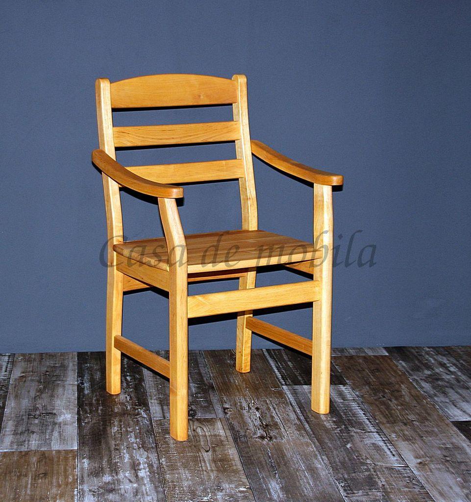 Armlehnstuhl mit Holzsitz Stuhl mit Armlehnen Erle massiv geölt – Bild 1