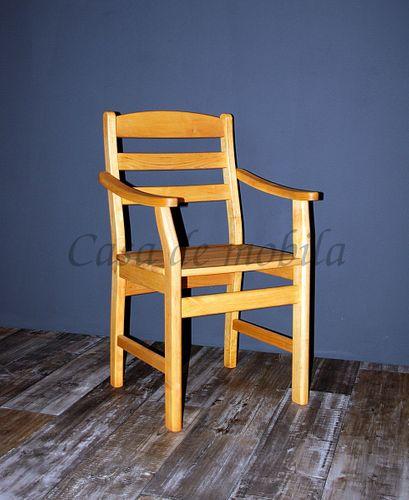 Armlehnstuhl mit Holzsitz Stuhl mit Armlehnen Erle massiv geölt – Bild 5
