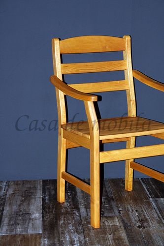 Armlehnstuhl mit Holzsitz Stuhl mit Armlehnen Erle massiv geölt – Bild 7