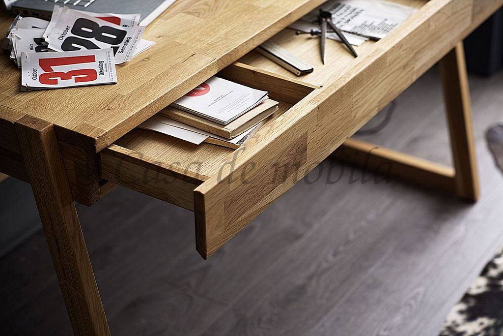 Schreibtisch Wildeiche Bürotisch Vollholz massiv geölt – Bild 3
