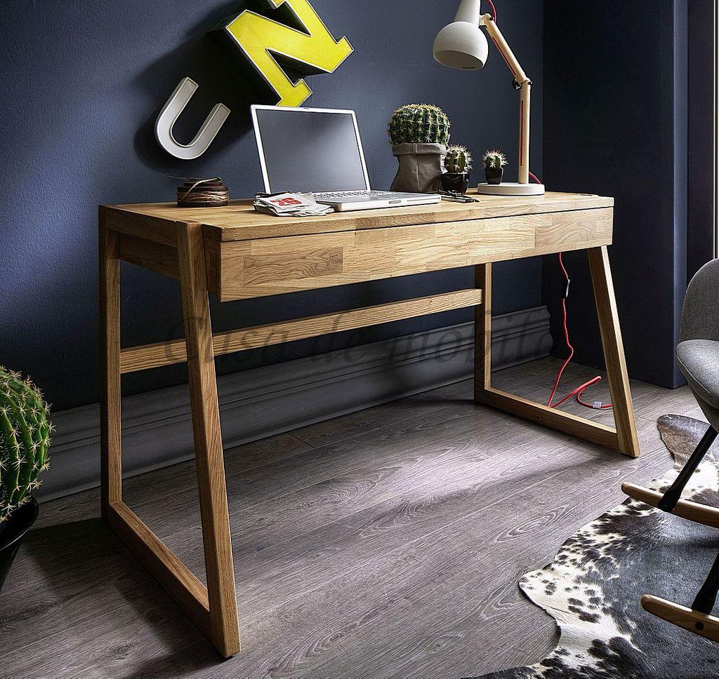 Schreibtisch Wildeiche Bürotisch Vollholz massiv geölt – Bild 1