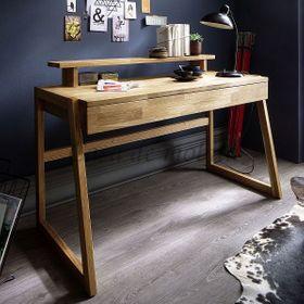 Schreibtisch mit Bildschirm-Aufsatz Wildeiche Bürotisch Vollholz massiv geölt 001