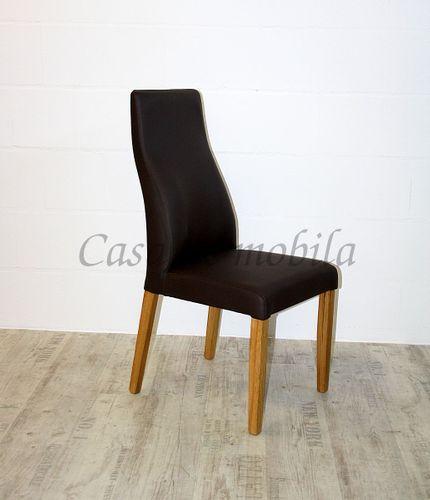 Polsterstuhl Sitz und Rücken Leder braun Gestell Eiche massiv geölt – Bild 7