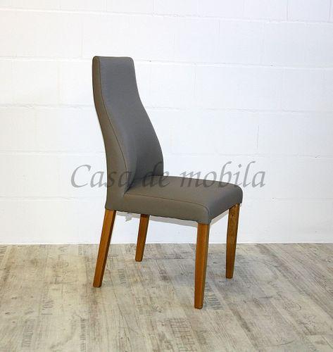 Polsterstuhl Sitz und Rücken Leder beige Gestell Buche massiv geölt – Bild 2