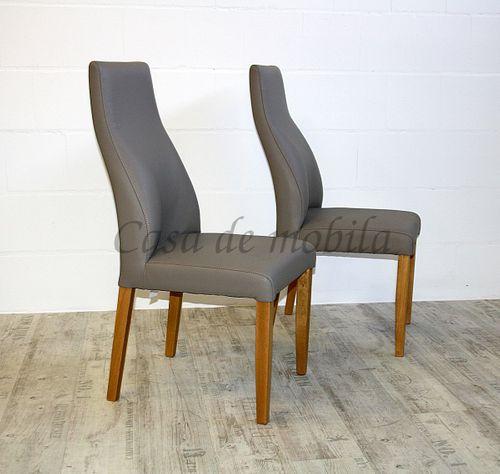 Polsterstuhl Sitz und Rücken Leder beige Gestell Buche massiv geölt – Bild 4