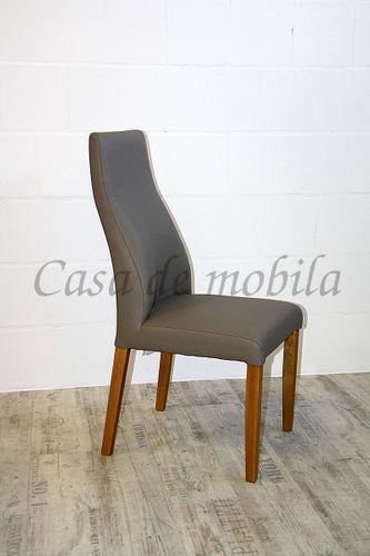 Polsterstuhl Sitz und Rücken Leder beige Gestell Buche massiv geölt – Bild 1
