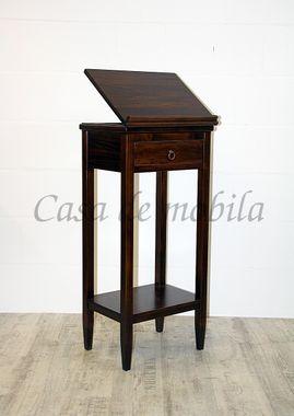 Stehpult 50x108x38cm, 1 Schublade, 1 verstellbare Klappe, Pappel massiv nussbaumfarben lackiert