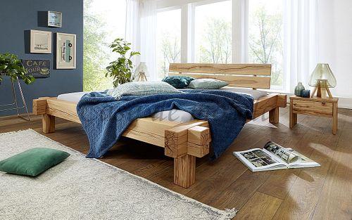 Balkenbett 180x200 Bett Vollholz Rustikal Doppelbett Wildbuche massiv geölt – Bild 2