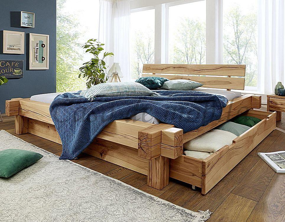 Schubkastenbett 200x200 Bett Vollholz Rustikal Balkenbett Wildbuche massiv geölt – Bild 1