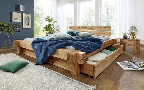 Schubkastenbett 200x200 Bett Vollholz Rustikal Balkenbett Wildbuche massiv geölt – Bild 2