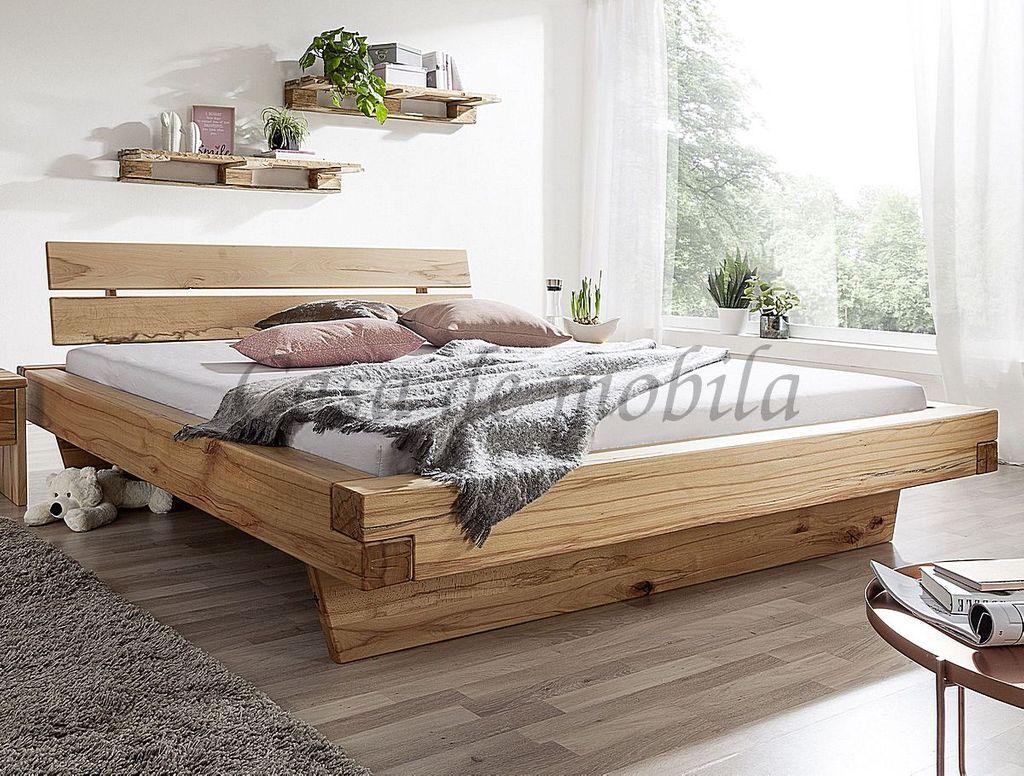 Schwebebett 160x200 Bett Vollholz Rustikal Balkenbett Wildbuche massiv geölt – Bild 1