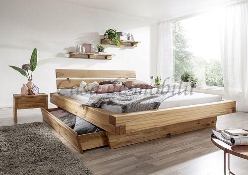 Schubladenbett 180x200 Bett Vollholz Rustikal Schwebebett Wildbuche massiv geölt – Bild 3