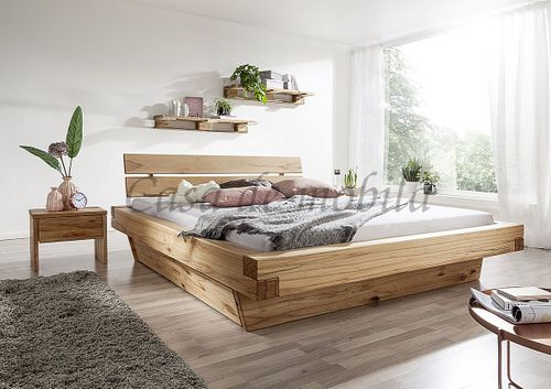 Schubladenbett 180x200 Bett Vollholz Rustikal Balkenbett Wildbuche massiv geölt – Bild 2