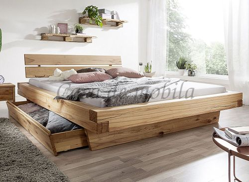 Schubladenbett 140x200 Bett Vollholz Rustikal Balkenbett Wildbuche massiv geölt – Bild 1