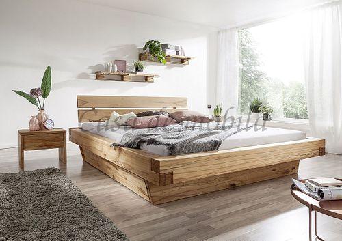 Schubladenbett 160x200 Bett Vollholz Rustikal Balkenbett Wildbuche massiv geölt – Bild 2