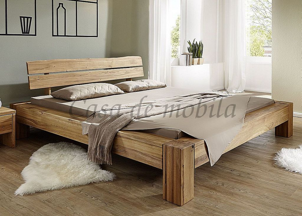bett 180x200 kopfteil mit baumkante wildeiche massiv ge lt rustikal. Black Bedroom Furniture Sets. Home Design Ideas