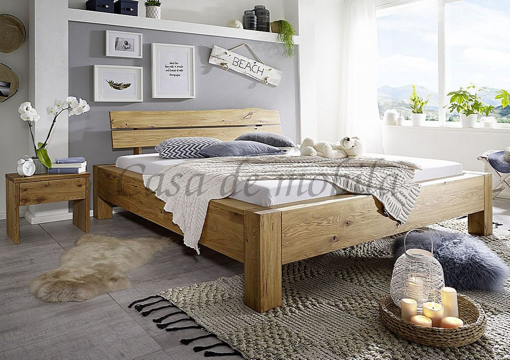 bett 180x200 komforth he kopfteil mit baumkante wildeiche massiv ge lt rustikal. Black Bedroom Furniture Sets. Home Design Ideas
