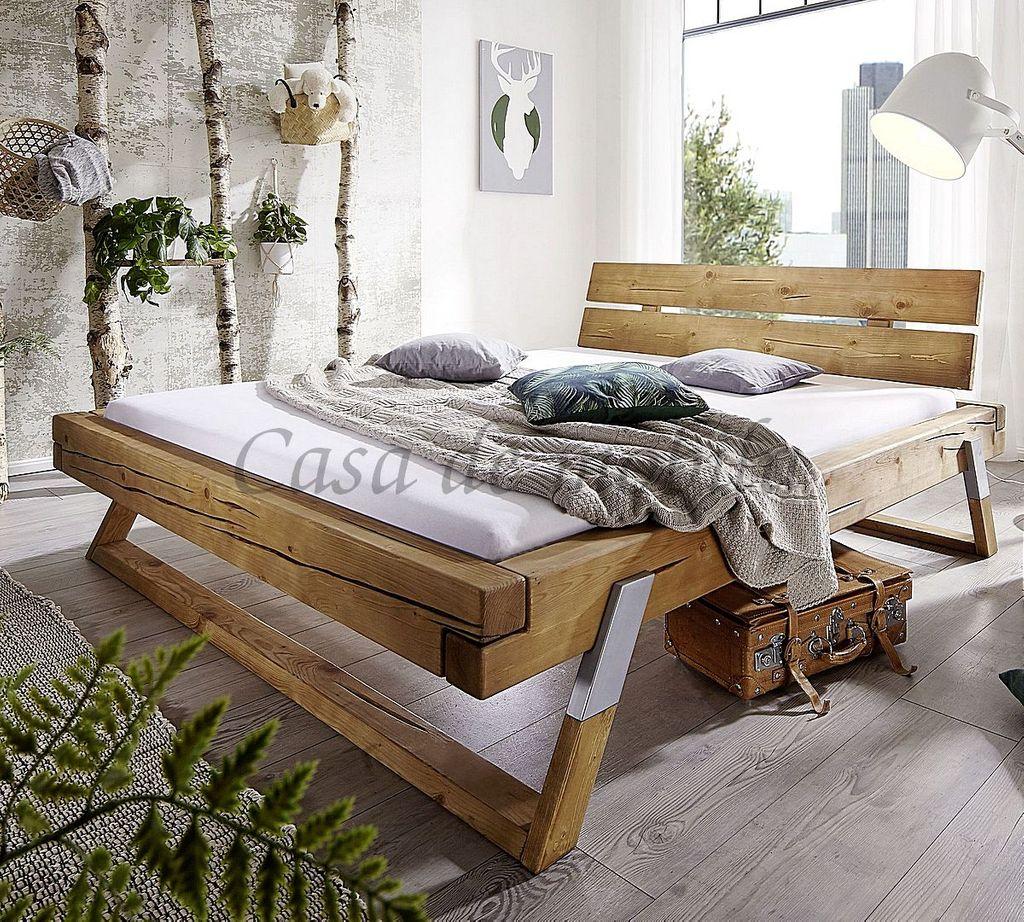 Bett 200x200 Kopfteil Mit Baumkante Kiefer Massiv Eichefarben