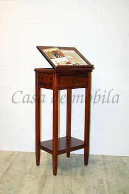 Stehpult 50x108x38cm, 1 Schublade, 1 verstellbare Klappe, Pappel massiv kirschbaumfarben lackiert
