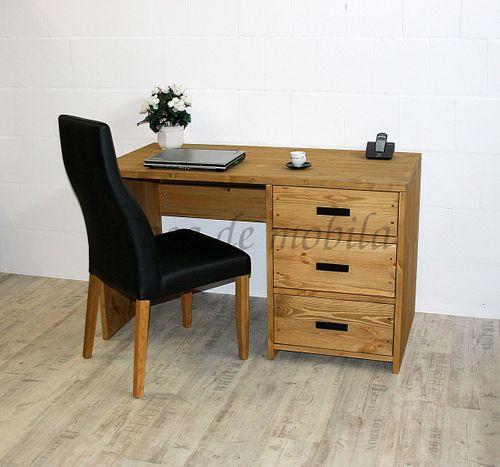 Büro Schreibtisch mit Schubladen Büromöbel massiv Vollholz rustikal antik gewachst – Bild 4