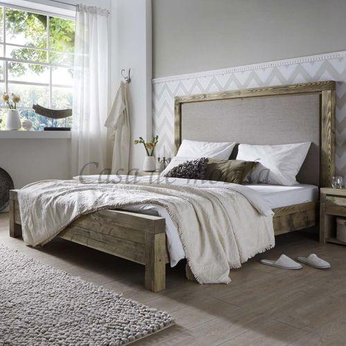 Doppelbett 160x200 Bett Kiefer massiv Holz Unikat antik Stoff-Kopfteil – Bild 1