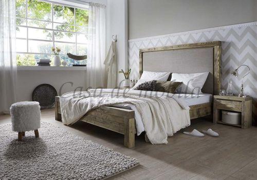 Doppelbett 160x200 Bett Kiefer massiv Holz Unikat antik Stoff-Kopfteil – Bild 2
