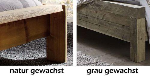 Doppelbett 200x200 Bett Kiefer massiv Holz Unikat antik Stoff-Kopfteil – Bild 3