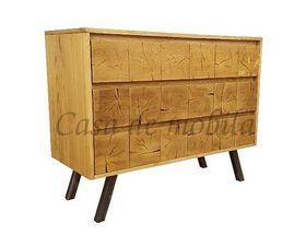 Kommode 112x90x48cm, 3 Schubladen, Esche massiv gebürstet / natur gewachst, mit Hirnholz-Applikationen in Eiche