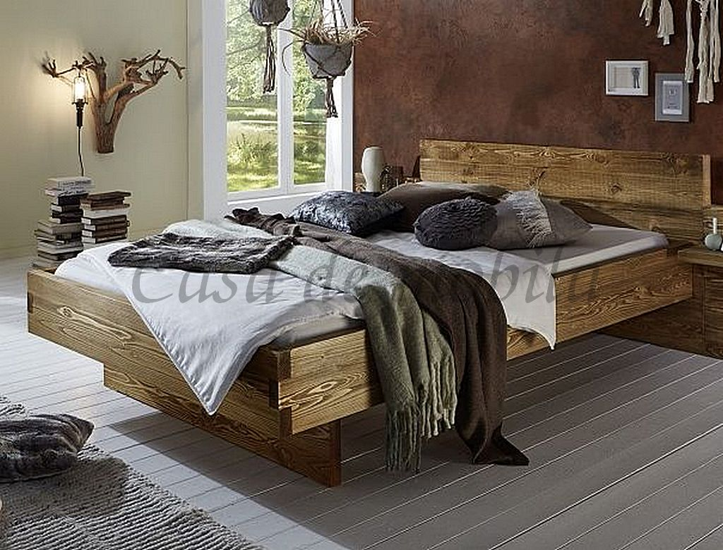 bett 180x200 nordisches massivholz rustikal natur gewachst. Black Bedroom Furniture Sets. Home Design Ideas