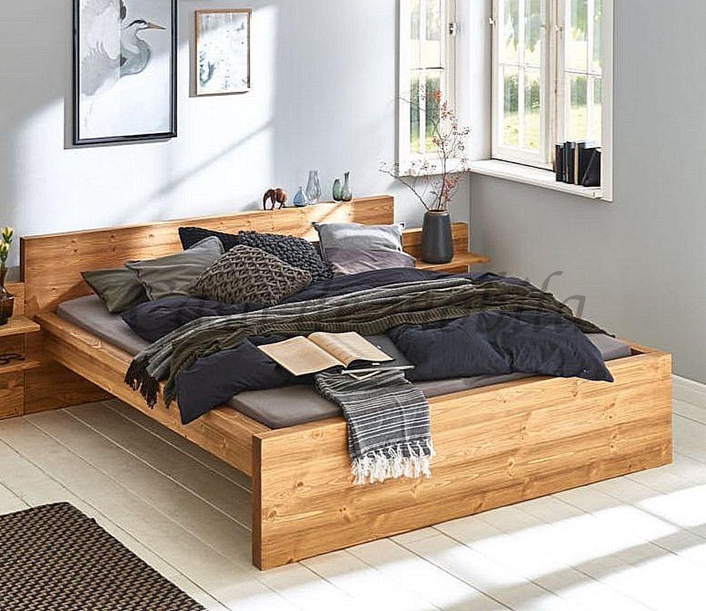 Bett 12x12, Nordisches Massivholz gebürstet und natur gewachst   Casade  Mobila