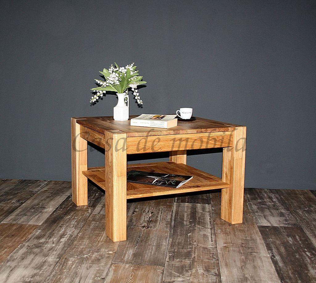 couchtisch 65x46x65cm mit ablageboden wildeiche massiv. Black Bedroom Furniture Sets. Home Design Ideas