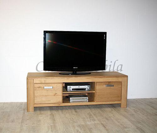 TV-Lowboard Wildeiche massiv TV-Kommode Holz natur geölt – Bild 2