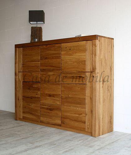 Highboard HORIZONT 173x137x45cm Wildeiche massiv natur geölt 6 Holztüren – Bild 3