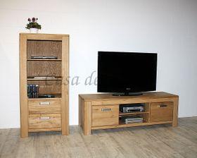 Anbauwand Wildeiche massiv Wohnwand Holz natur geölt 001