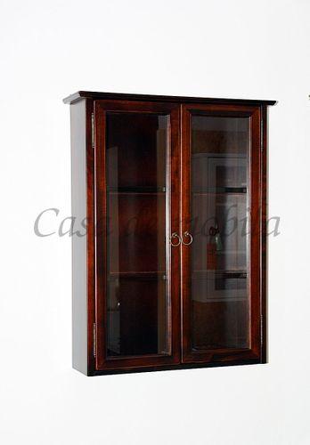 Badezimmer Hängevitrine kolonialfarben Hängeschrank schwarzbraun Hausapotheke dunkelbraun mit Glastüren – Bild 4