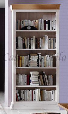 Bücherregal 100x210x41cm, 4 Einlegeböden, Kiefer massiv weiß lasiert