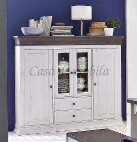 Highboard 157x141x45cm, 2 Holztüren, 2 Glastüren, 2 Schubladen, Kiefer massiv 2farbig weiß lasiert