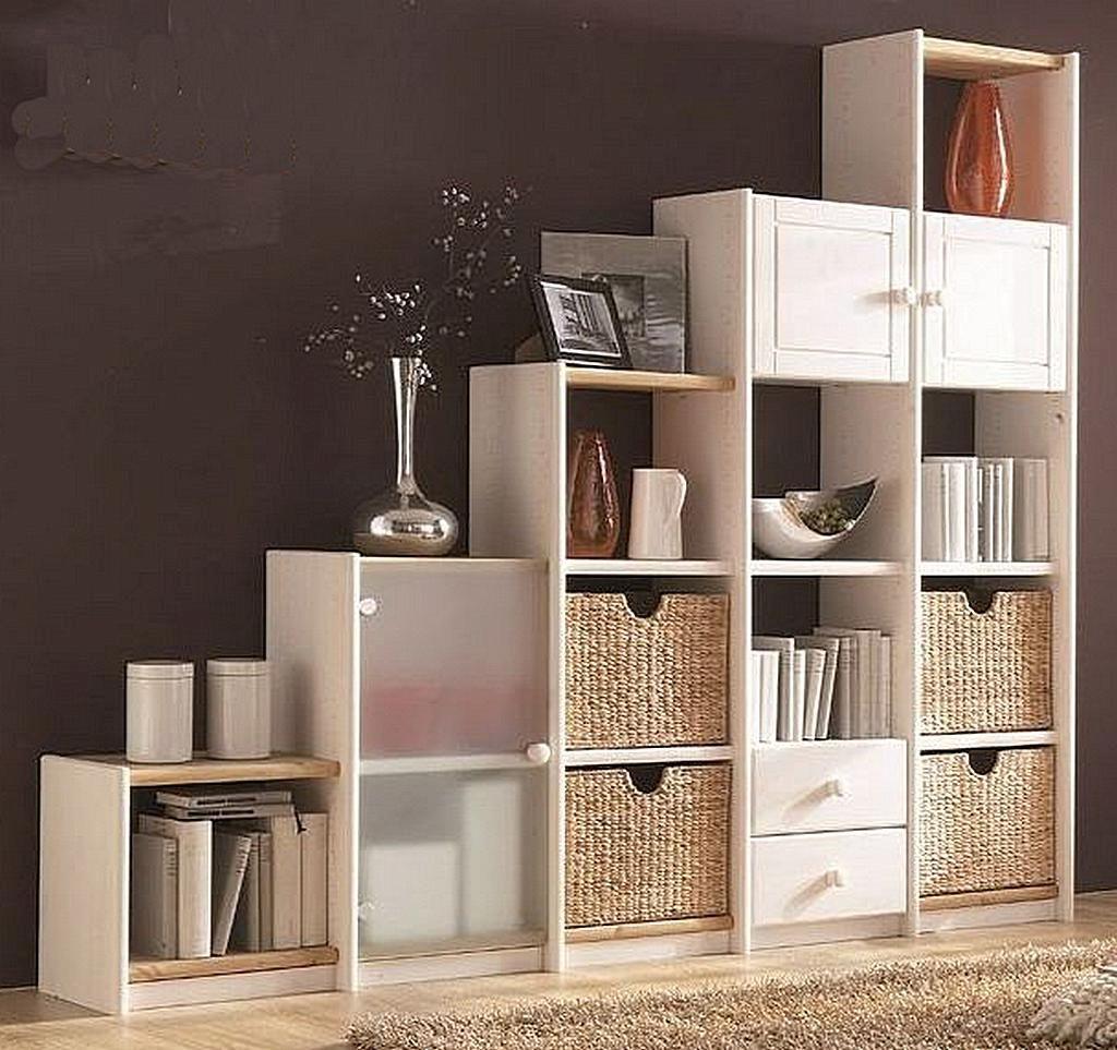 Stufenregal Massivholz Bücherregal weiß Systemregal rechts Kiefer – Bild 1