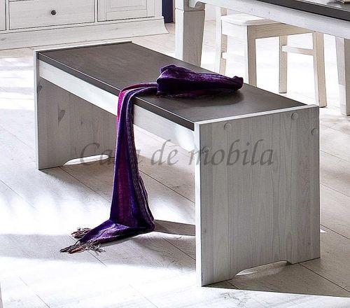 Sitzbank 160cm Kiefer massiv weiß Holzbank Vollholz Küchenbank 2farbig – Bild 1