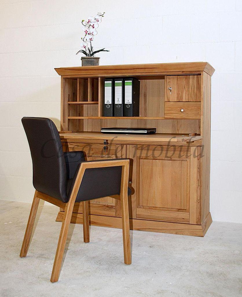 Sekretär PRATO 127x130x50cm Massivholz geölt Computerschrank  – Bild 13