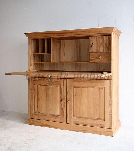 Sekretär PRATO 127x130x50cm Massivholz geölt Computerschrank  – Bild 6