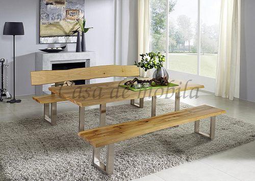 Baumtisch erweiterbar 160/200/240x76x90cm Wildeiche massiv Vollholz Esstisch mit Ansteckplatten und Metallfuß – Bild 4