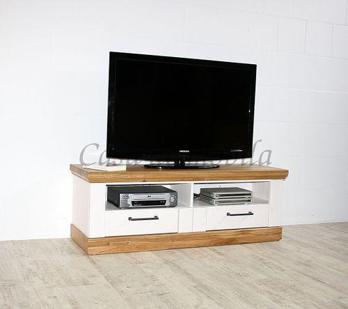 TV-Kommode SEESEN 133x47x43cm 2farbig Kiefer weiß lackiert Eiche geölt Lowboard – Bild 1
